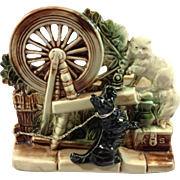 McCoy Spinning Wheel Planter with Scotty Dog & Persian Cat