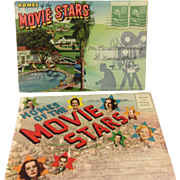 SOLD Linen Postcard Folders: Homes of the Movie Stars