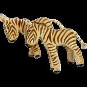 2 Steiff Velveteen Zebras