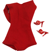 Helenca Style Red Swimsuit & Heels for Mattel Fashion Doll