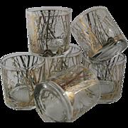 SOLD Vintage Gold Gilt Whiskey Rock Glasses
