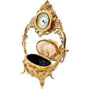 SOLD Beautiful Antique Gold Ornate Vanity Clock/Jewelry Box Combo-Working Great-Beautiful Disp