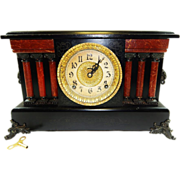 Antique Ingraham Claw Footed 6 Pillar Wooden Mantle Clock-Excellent, Fully Working Condition .