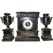 Stunning Antique Three Piece Heavy Black Marble and Bronze French Mantle Clock-Excellent, Full