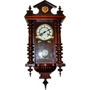 1) Antique Hand Carved Wooden Figural Hanging Wall Clock-Excellent, Fully Working-with Key and