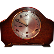 SOLD Antique British Made Perivale Bentina Westminster Chime Wooden Footed Mantle Clock-Fully