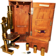119) Antique E. Leitz Wetzlar Microscope No 31488 In Custom Wooden Box with Various Lenses ...