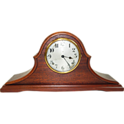 195) Beautiful Antique Gilbert Inlaid Wood Mantel Clock-EXCELLENT Fully Working Condition with