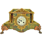 199) Gorgeous Antique French Green Marble Footed Mantel Clock-Paris-Late 1800s