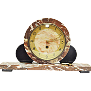 Beautiful Art Deco Three Peice Marble Mantel Clock- Excelent Working Condition With Key
