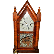 213) Antique Waterbury Steeple Shelf Clock-Excellent Fully Working Condition with Key and ...