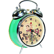 Vintage Communist China Mao Twin Bell Footed Alarm Clock-Excellent, Working Condition! Green.