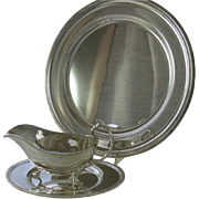 REDUCED Round Platter, Sauce/Gravy Boat & Saucer with Acanthus Leaves Applied Border
