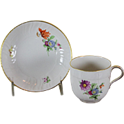 REDUCED Collectors Hand-Painted Coffee Cup & Saucer with Multi Colored Flower Decoration.