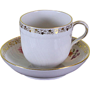 REDUCED Collectors Hand-Painted Coffee Cup & Saucer with  Five Delicate Antique Bouquets