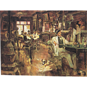 "NEIL BOYLE (Listed).  Western Bar Scene ""The Mechanic"" (Card Shark), lithograph, 7/4"