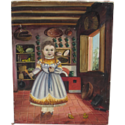 SOLD AGAPITO LABIOS, Listed, Mexican Folk Art Painting, Little Girl in the Kitchen, Has condit