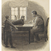 SOLD Man & His Sons Playing Cards, 1928, mixed media Drawing, SIGNED PST 28'