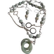 SOLD Jadeite Necklace With Sterling Silver Accents, And Matching Earrings