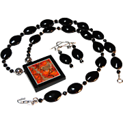 REDUCED Orange and Black, Intarsia Pendant Necklace, With Earrings