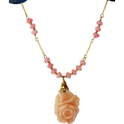 REDUCED Carved Pink Peruvian Opal,Pendant with Alexndrite Rondelle Beads, Necklace