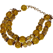 REDUCED Yellow Cracked Glass Beads and Crystal Bracelet