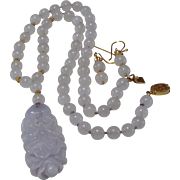 REDUCED Chinese Lavender Jadeite Carved Pendant With White Nephrite Beads, Plus Earrings