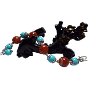 REDUCED Enhanced Turquoise  beads, With Natural  Carnelian, Beaded Bracelet