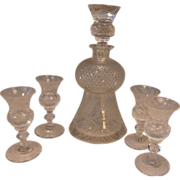 SOLD Cut Glass Liquor Decanter & 4 Matching Glasses Thistle
