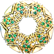 REDUCED Lisner Brooch Gold Tone with Green Glass Stones