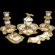 19th c. KPM Porcelain 5 Piece Desk Ensemble with Bronze Ormolu Framework