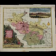 SALE Decorative 17th Century Map of Merseburg including Leipzig & Halle (Pieter Schenk)