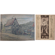1920's Original Art Nouveau Pastel Drawing of old Mill by Franz Brantzky & Original Art ...