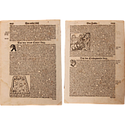 16th Century Woodcuts of the Cimbri War and the Carthage War  - Book page of Cosmographia ...