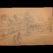 1920's Original Art Nouveau Pencil Drawing of Hadamar, Germany by Franz Brantzky