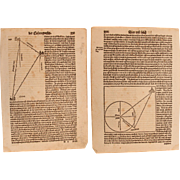 """16th Century Woodcut of a """"Triangle Calculation"""" / Book page of Cosmographia (Sebast"""
