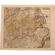 SALE 17th Century Map showing Westphalia in Germany by Pierre Mortier circa 1690
