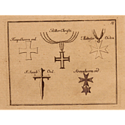 """17th Century Copper Engraving """"Clerical Orders of Knights"""""""