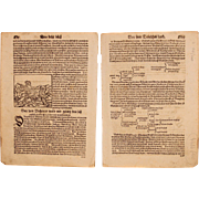 16th Century Woodcut of German Aristocracy - Book page of Cosmographia (Sebastian Münster)