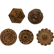Set of 5 Ancient Buttons from Iberian Peninsula - Bronze & Brass