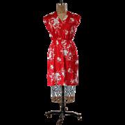 Vintage 1970s Red Flower Print Day Dress