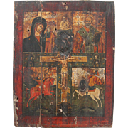 SALE Antique Russian Four Field Icon depicting Mother Mary & Christ / Nicholas / Michael / ...