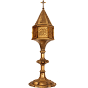 SALE 19th Century Ciborium with Gilt - Gothic Revival Devotional Object from Continental Europ
