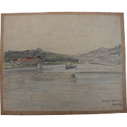 1930's Original Pencil & Pastel Drawing of the Lake Baldeney in Essen Germany by Franz ...