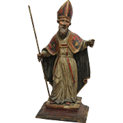 18th Century Sculpture of Bishop - Wood Carved Polychrome Baroque Figure from Spain / Italy