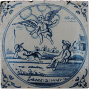 """SALE 17th Century Delft Tile - """"Annunciation to the shepherds"""" Bible Scene of Lucas"""