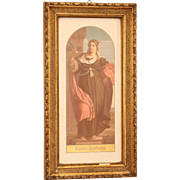 Early 20th Century Gilt Framed Picture of Saint Barbara - Print of Palma Vecchio