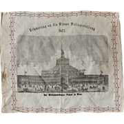 SALE Souvenir from the 1873 World Fair in Vienna - Steel Engraving on Linen