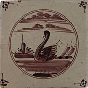 18th century Dutch Delft Purple and White Pottery Tile with Swan