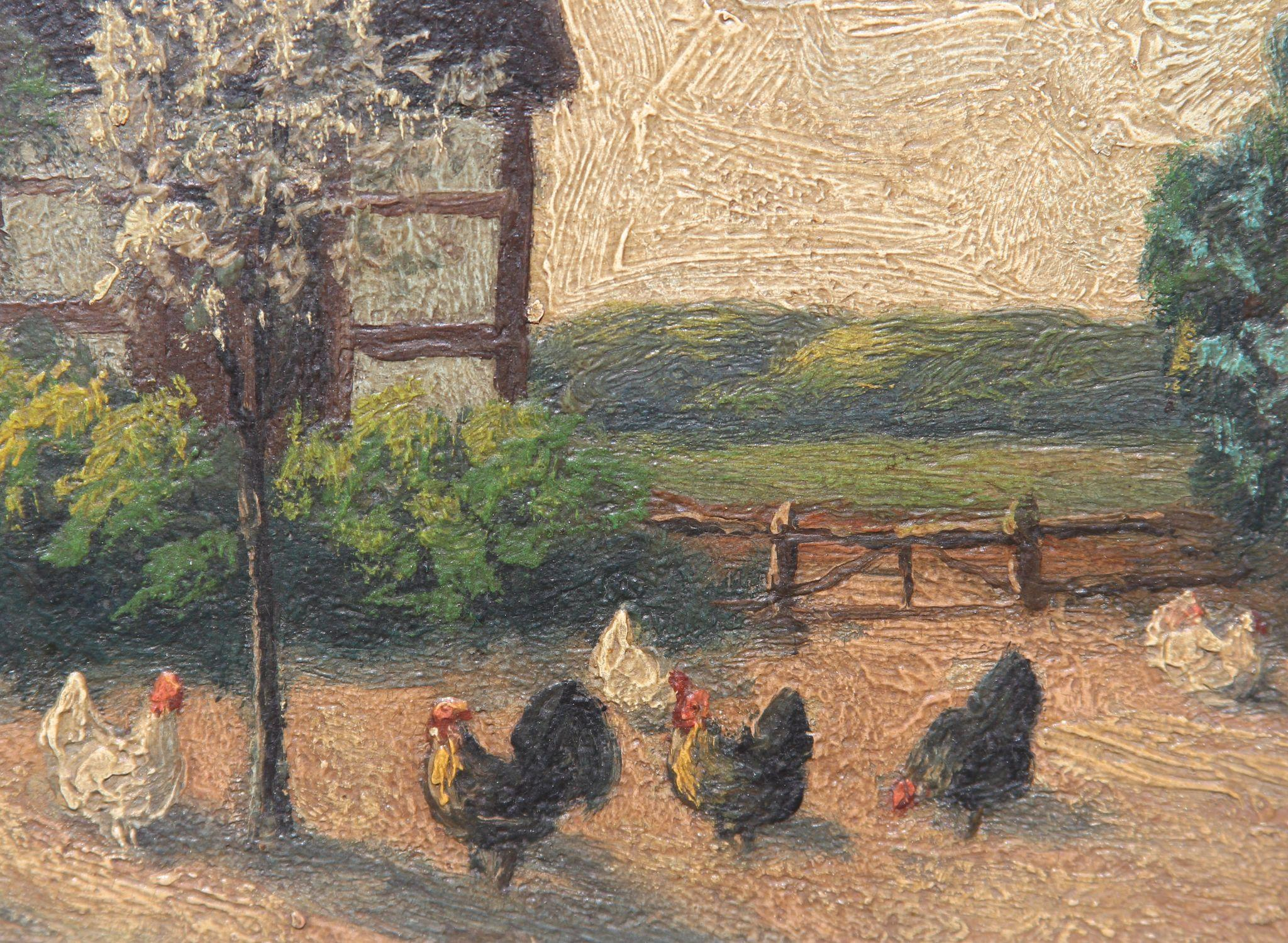 Impressionism 19th Century Oil Painting Of Chicken At The